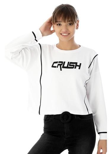 Emjey Crush Baskılı Arabiyeli Sweat Beyaz
